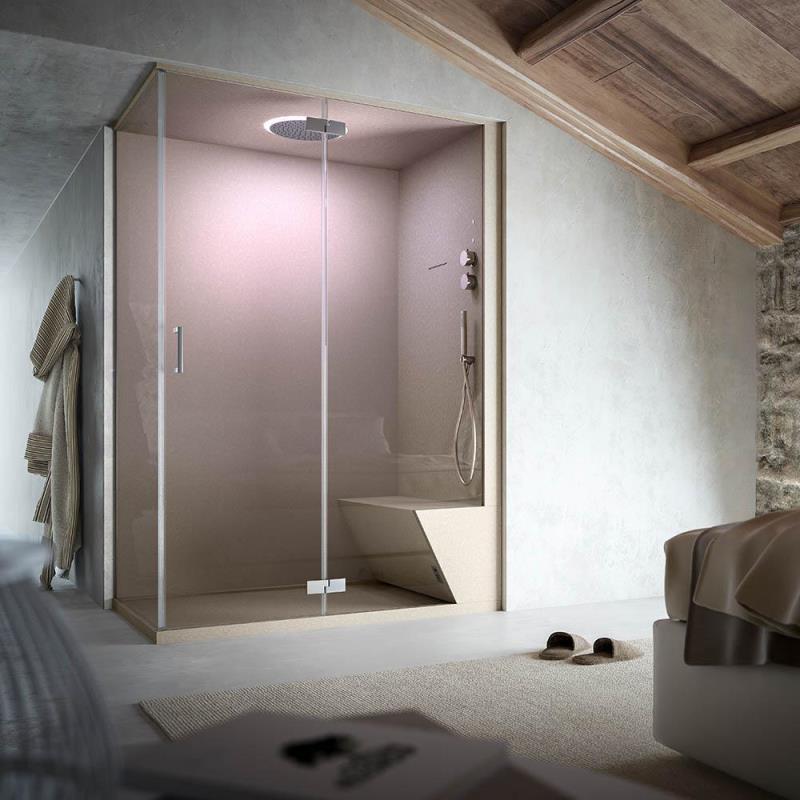 Soluzione doccia Hammam ad angolo nicchia non solo doccia